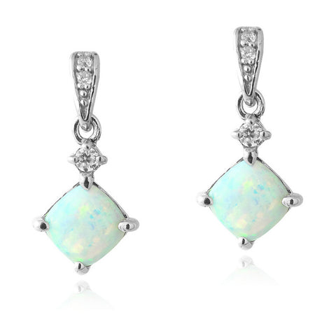 Gemstone & Cubic Zirconia Sterling Silver Diamond Shaped Dangle Earrings - Opal