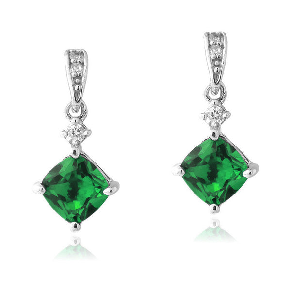 Gemstone & Cubic Zirconia Sterling Silver Diamond Shaped Dangle Earrings - Quartz
