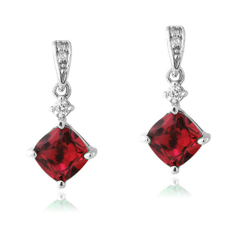 Gemstone & Cubic Zirconia Sterling Silver Diamond Shaped Dangle Earrings - Ruby