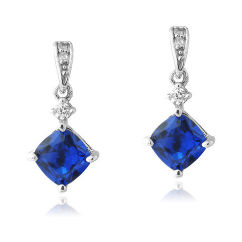 Gemstone & Cubic Zirconia Sterling Silver Diamond Shaped Dangle Earrings - Sapphire