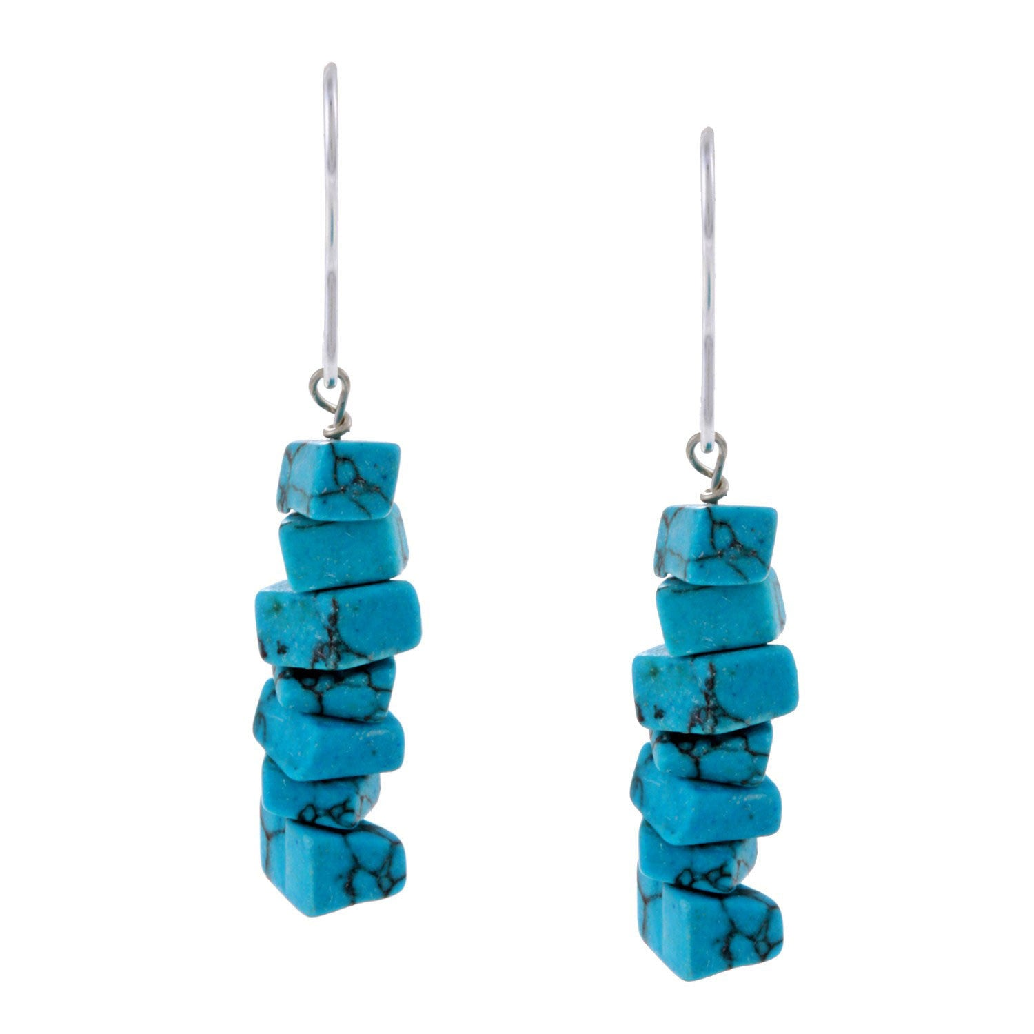 Gemstone Chip Sterling Silver Hook Dangle Earrings - Turquoise