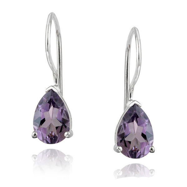 Gemstone Accent Sterling Silver Dangle Teardrop Earrings - Silver / Amethyst