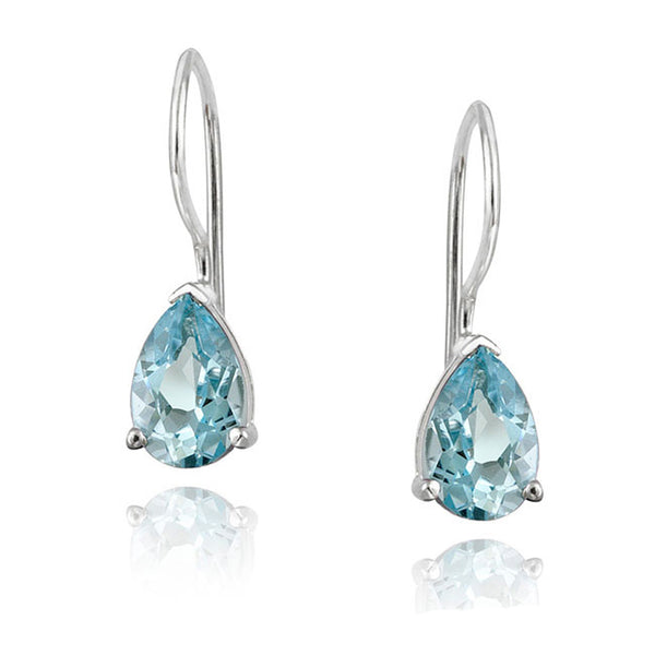 Gemstone Accent Sterling Silver Dangle Teardrop Earrings - Silver / Blue Topaz
