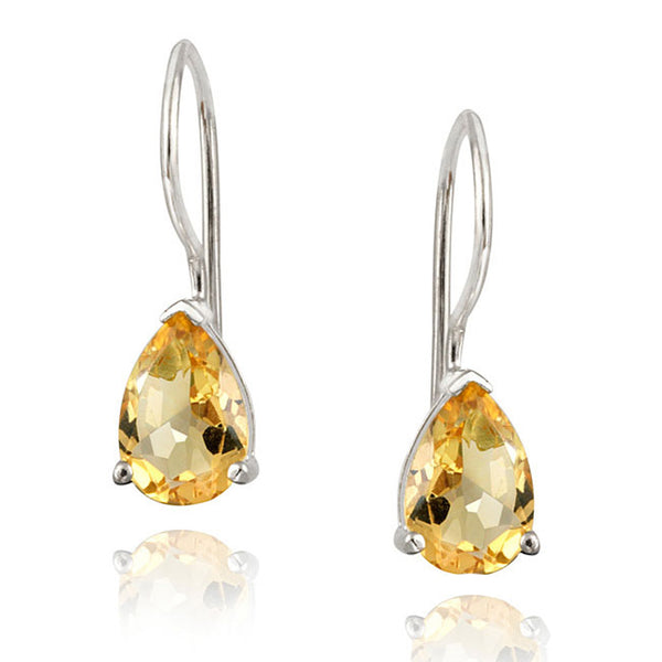 Gemstone Accent Sterling Silver Dangle Teardrop Earrings - Silver / Citrine
