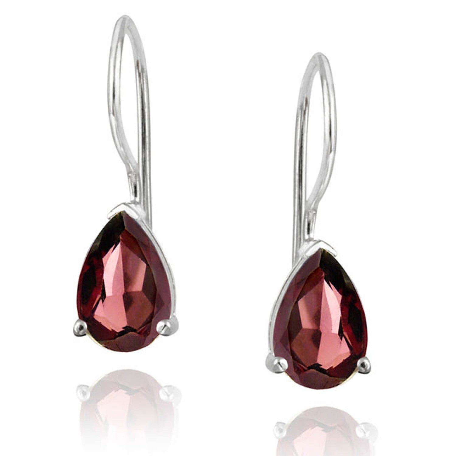 Gemstone Accent Sterling Silver Dangle Teardrop Earrings - Silver / Garnet