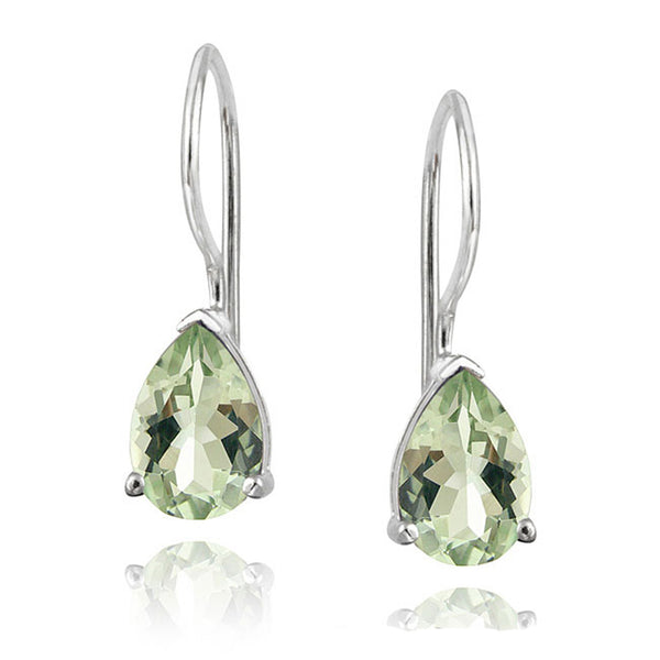 Gemstone Accent Sterling Silver Dangle Teardrop Earrings - Silver / Green Amethyst