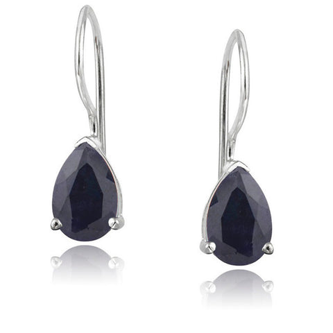 Gemstone Accent Sterling Silver Dangle Teardrop Earrings - Silver / Sapphire
