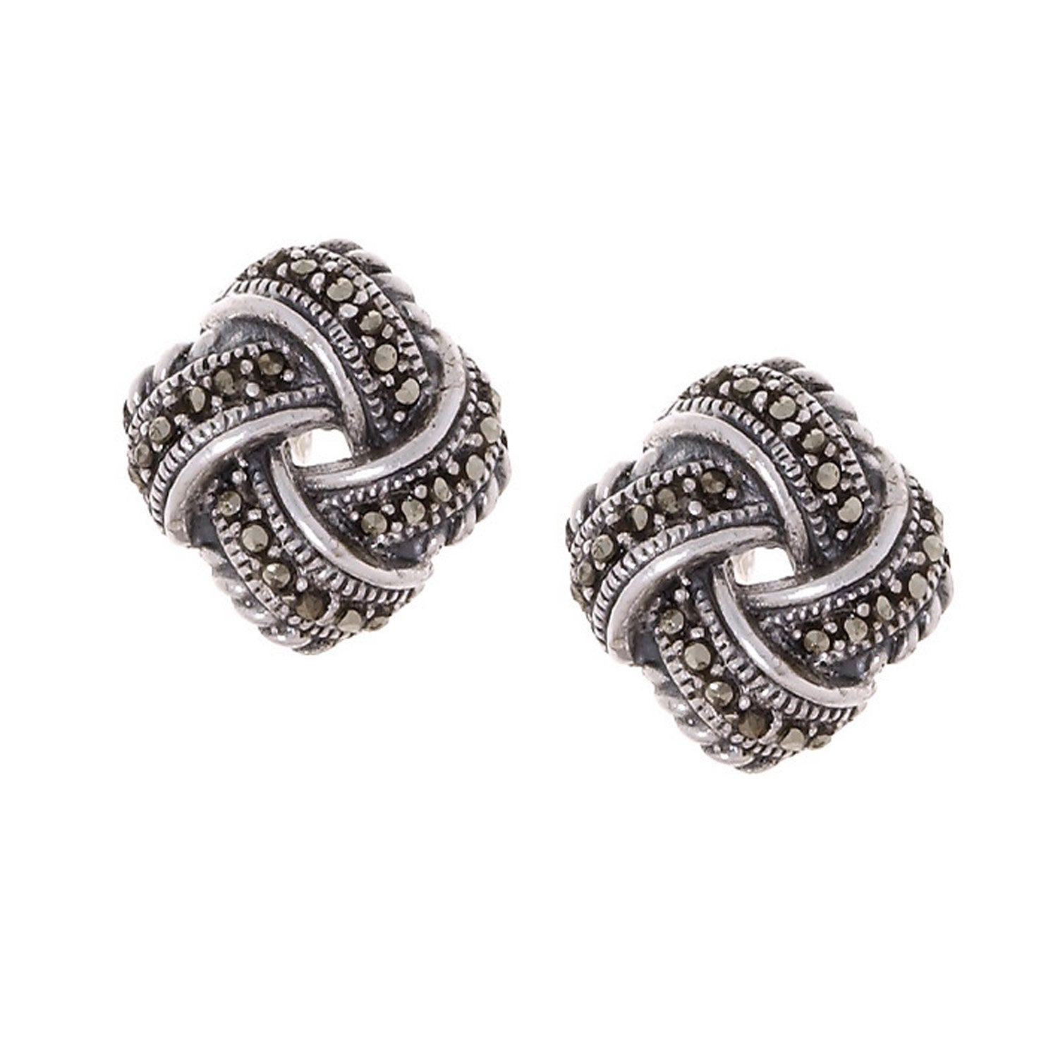 Marcasite Accented Sterling Silver Butterfly Clasp Love Knot Stud Earrings