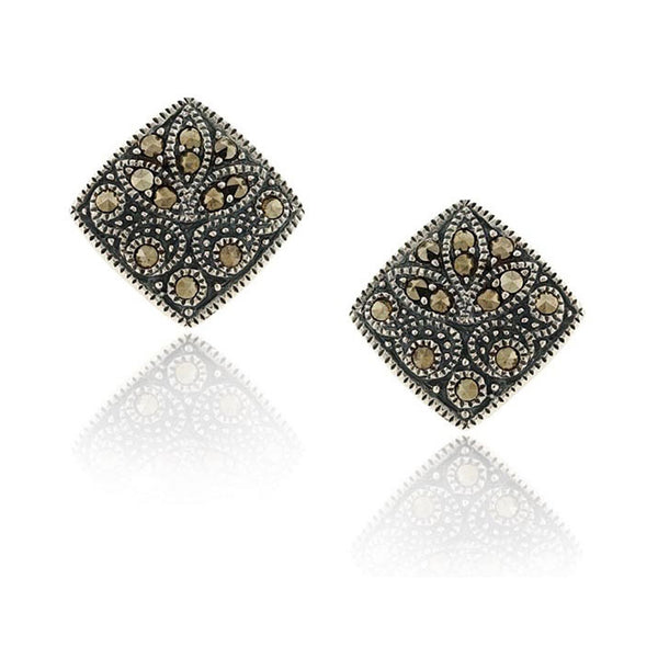 Marcasite Accented Sterling Silver Butterfly Clasp Square Stud Earrings