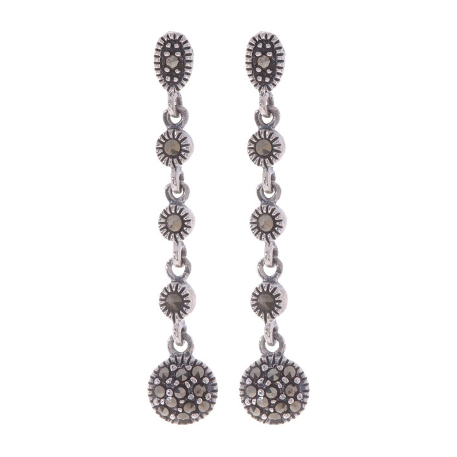 Marcasite Accented Sterling Silver Butterfly Clasp Dangle Earrings