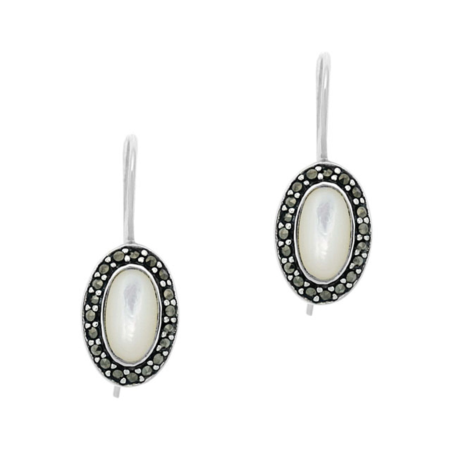 Marcasite Accented Sterling Silver Mother of Pearl Dangle Earrings