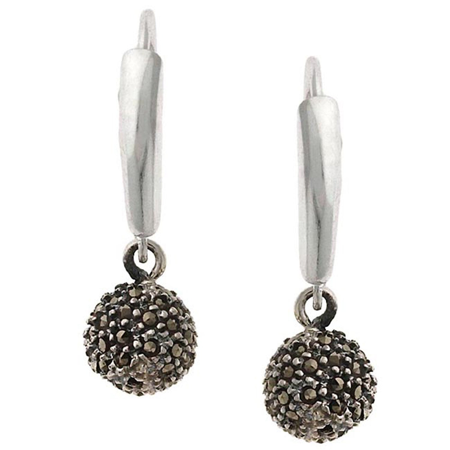 Sterling Silver Marcasite Ball Leverback Earrings