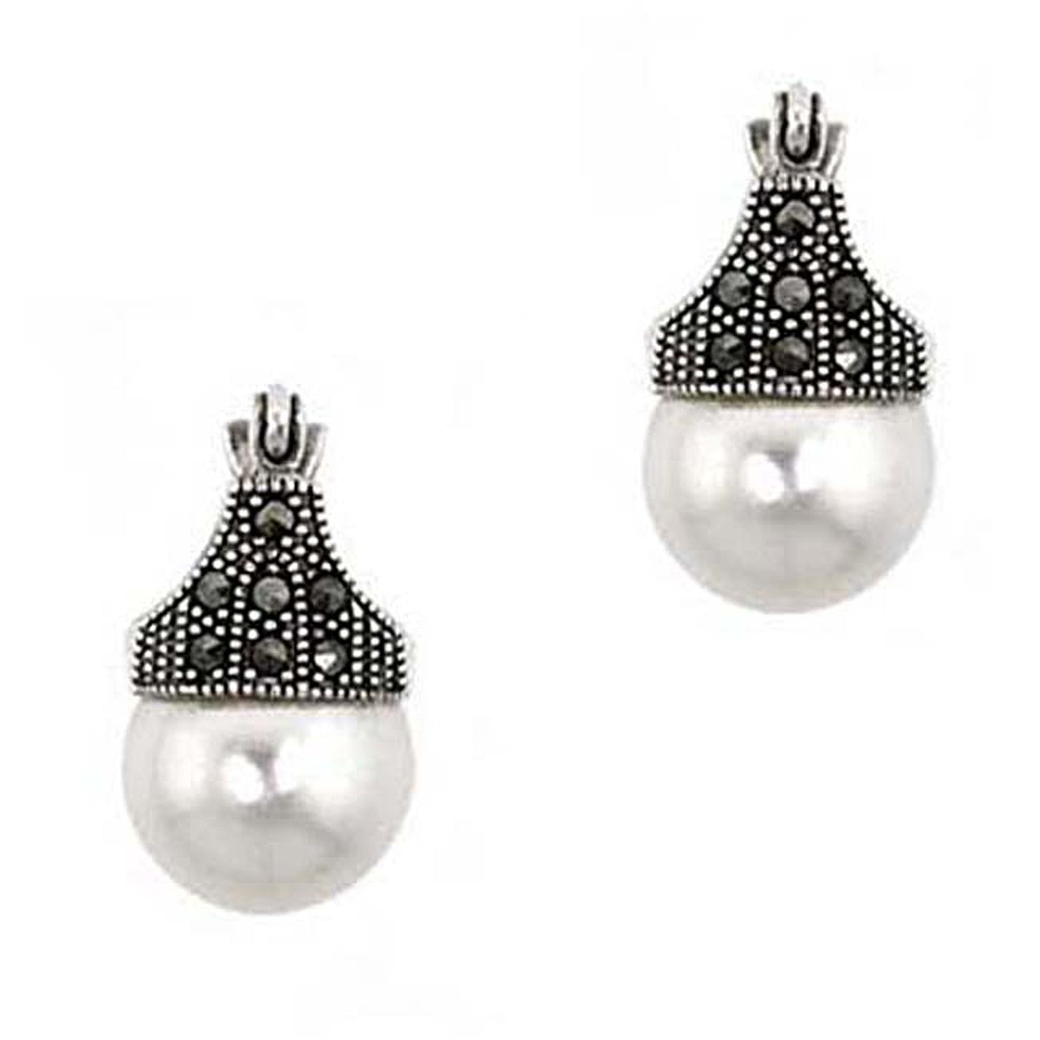 Marcasite & Faux Pearl Sterling Silver Art Deco Saddleback Earrings