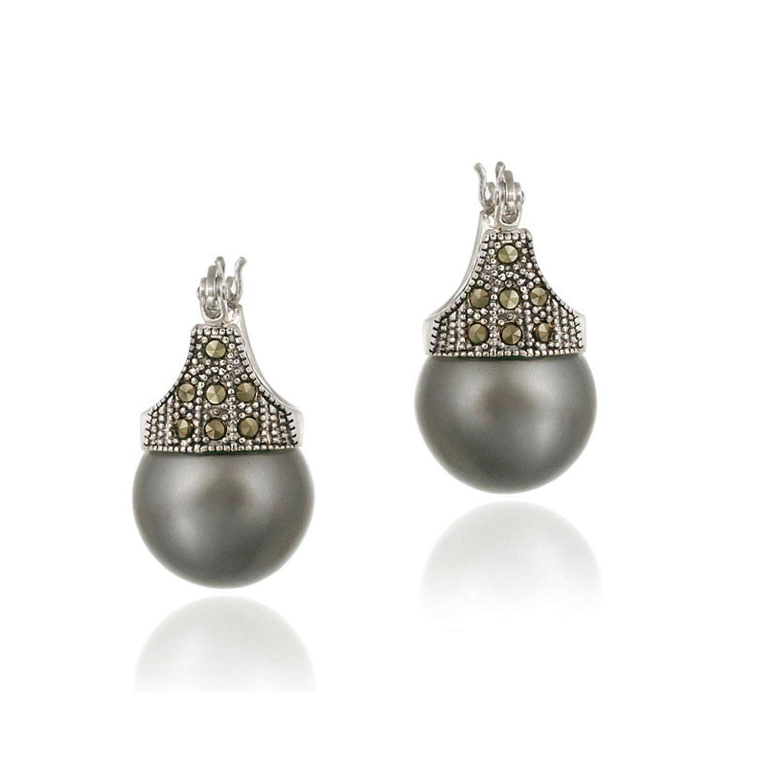 Marcasite & Grey Faux Pearl Sterling Silver Saddleback Earrings