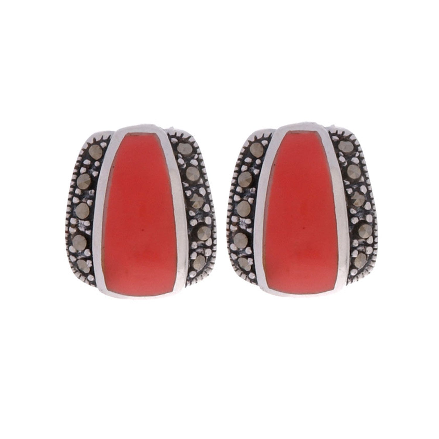 Marcasite & Synthetic Coral Sterling Silver Earrings