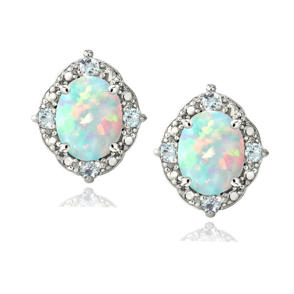 Opal & Blue Topaz Diamond Accented Sterling Silver Stud Oval Earrings