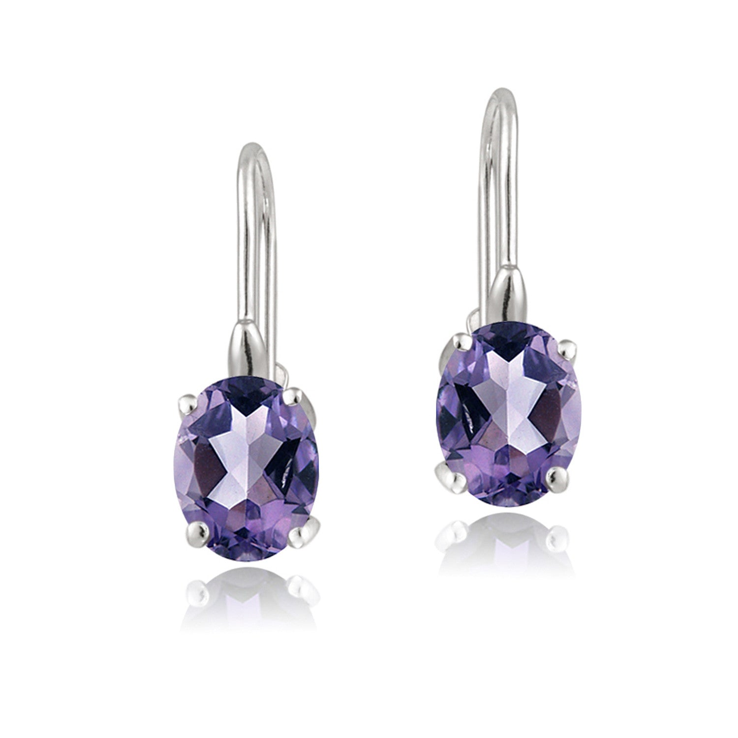 Sterling Silver Oval Cut Birthstone Leverback Dangle Earrings - February Amethyst