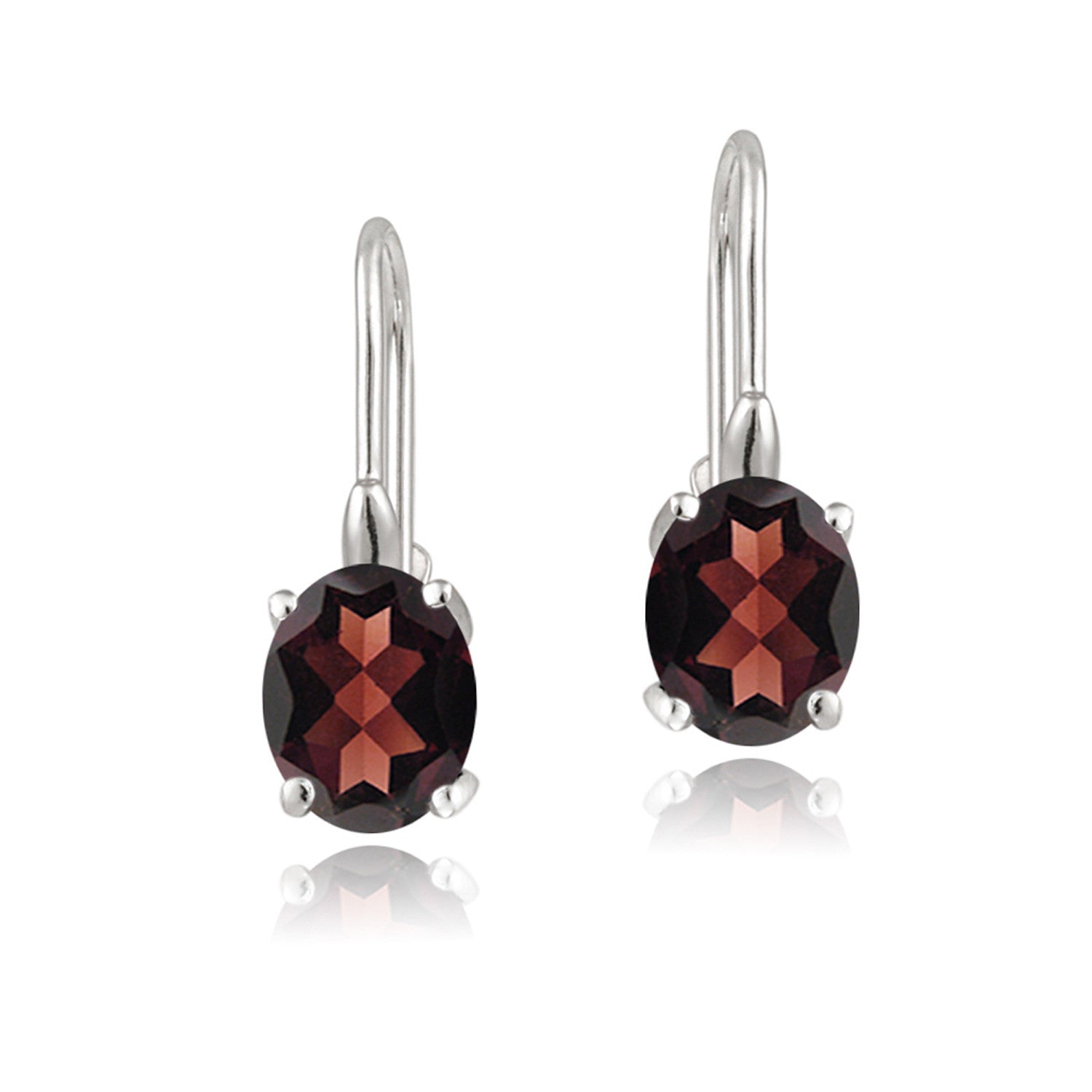 Sterling Silver Oval Cut Birthstone Leverback Dangle Earrings - January Garnet