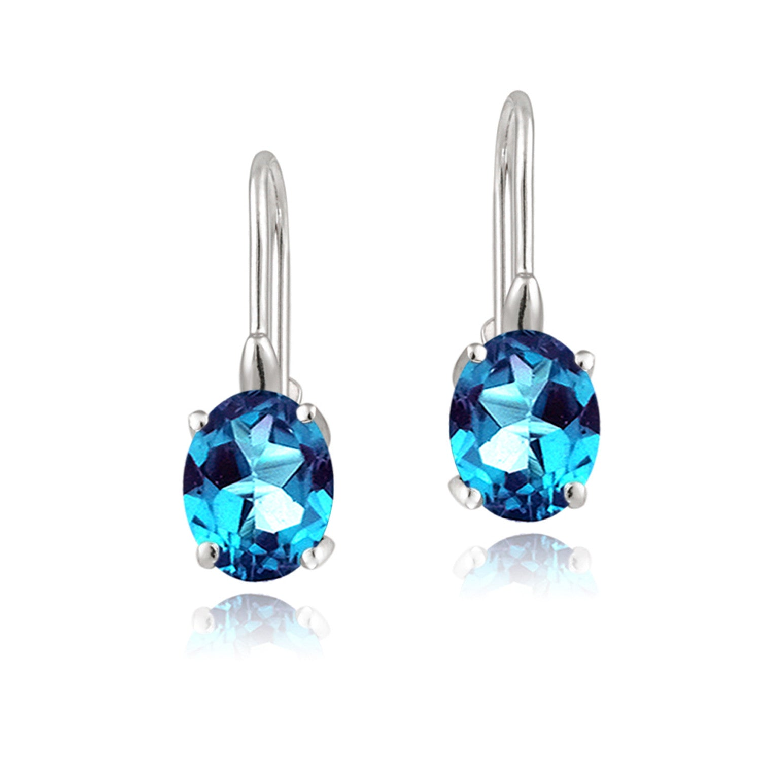 Sterling Silver Oval Cut Birthstone Leverback Dangle Earrings - March Aquamarine