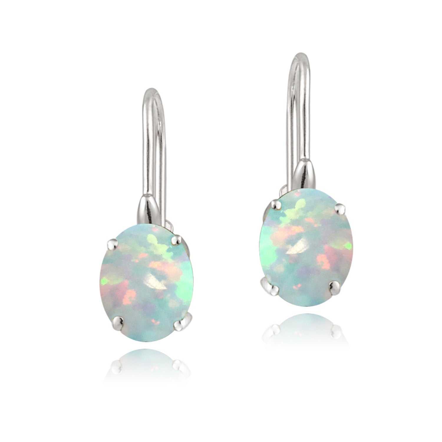 Sterling Silver Oval Cut Birthstone Leverback Dangle Earrings - October Created Opal
