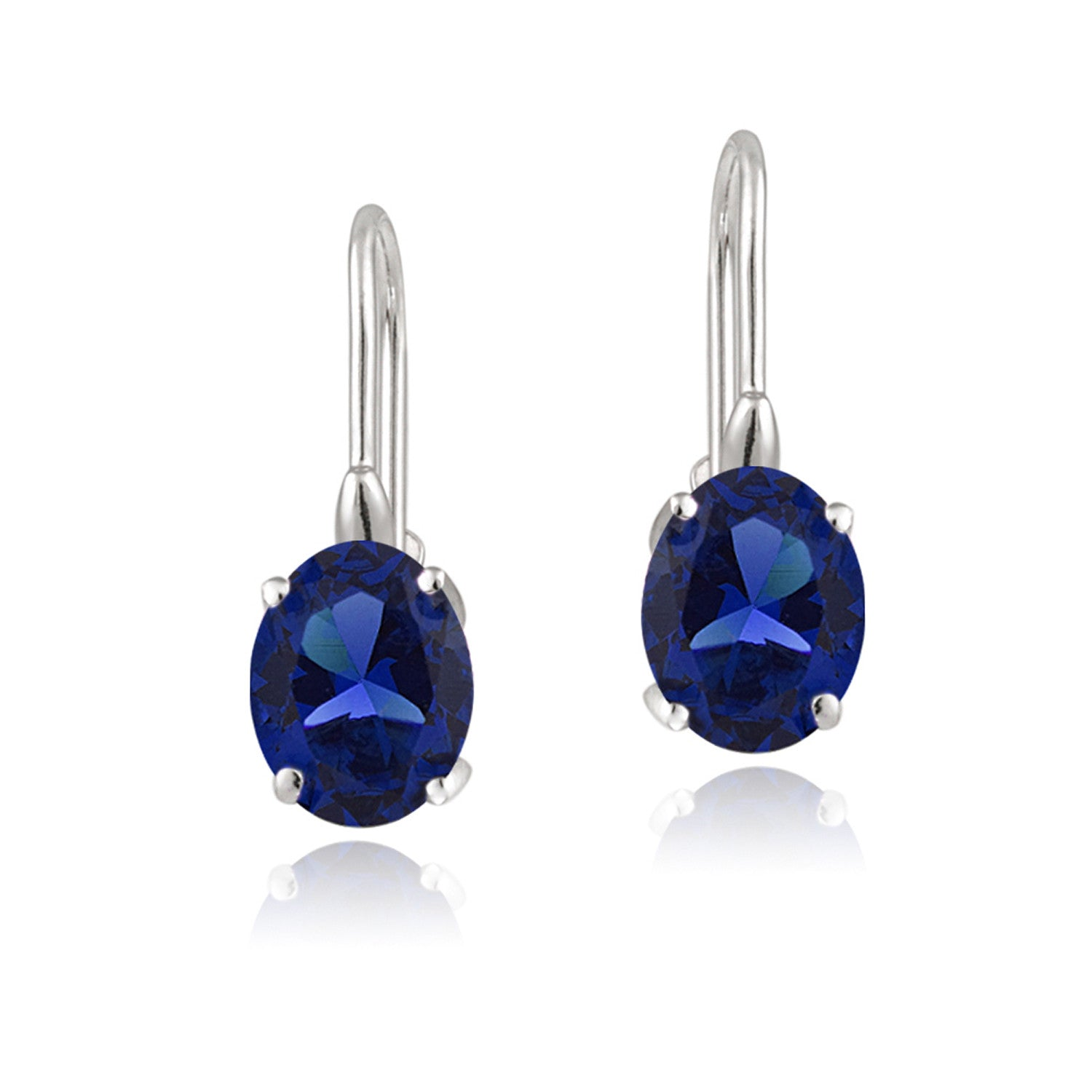 Sterling Silver Oval Cut Birthstone Leverback Dangle Earrings - September Created Sapphire