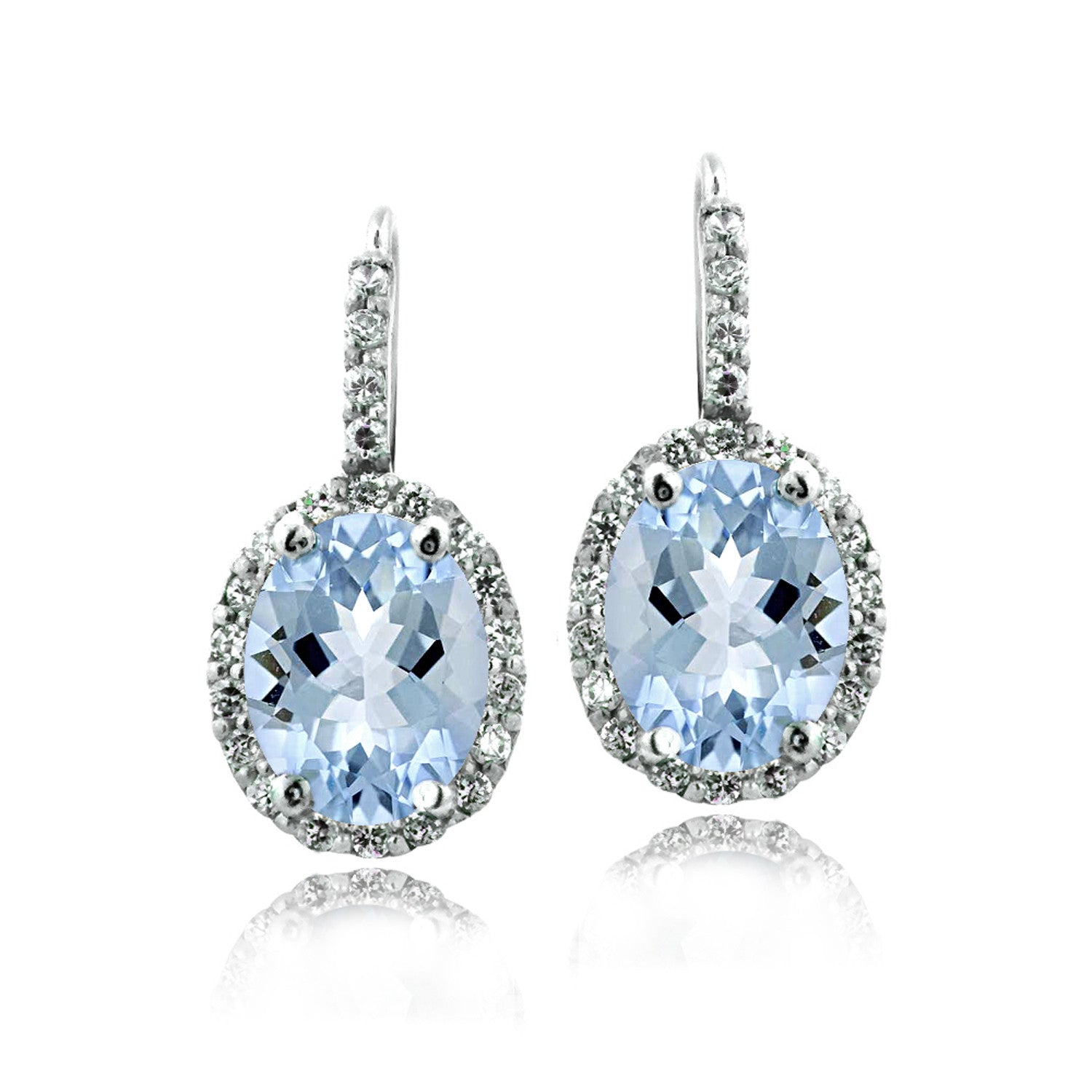 Oval Cut Gemstone Accent Sterling Silver Leverback Birthstone Earrings - December Blue Topaz