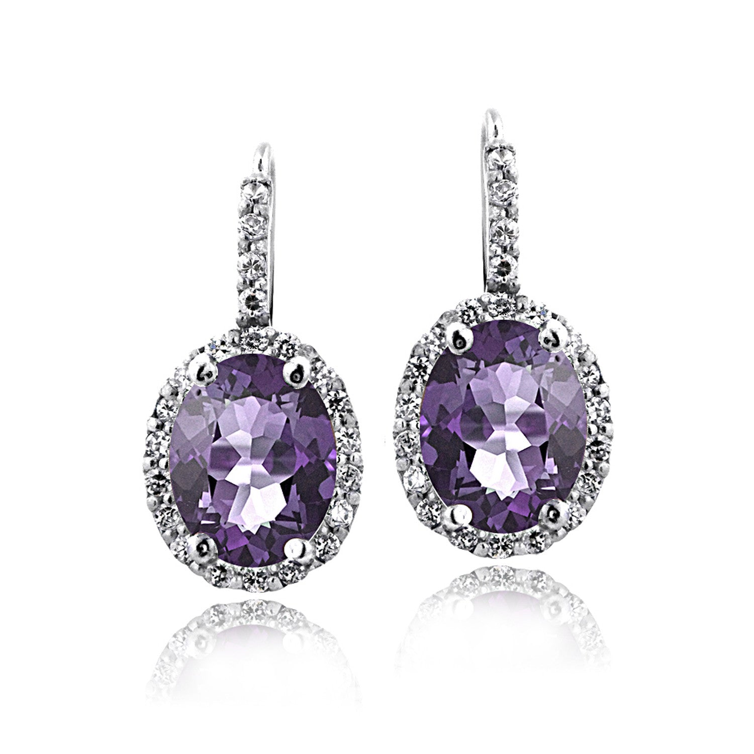Oval Cut Gemstone Accent Sterling Silver Leverback Birthstone Earrings - February Amethyst
