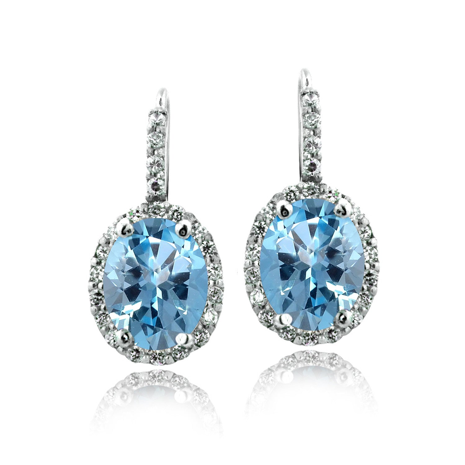 Oval Cut Gemstone Accent Sterling Silver Leverback Birthstone Earrings - March Aqua CZ