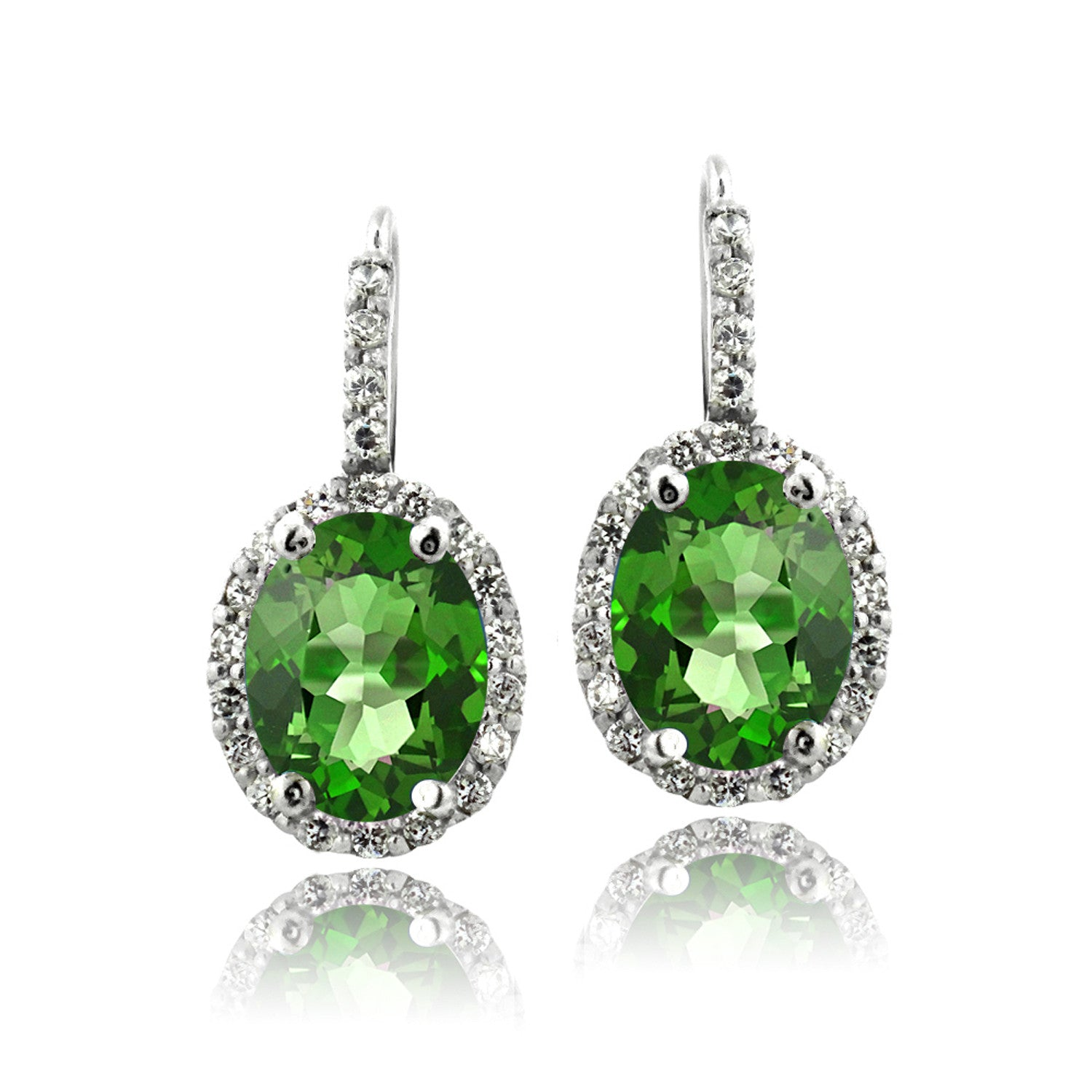 Oval Cut Gemstone Accent Sterling Silver Leverback Birthstone Earrings - May Created Emerald