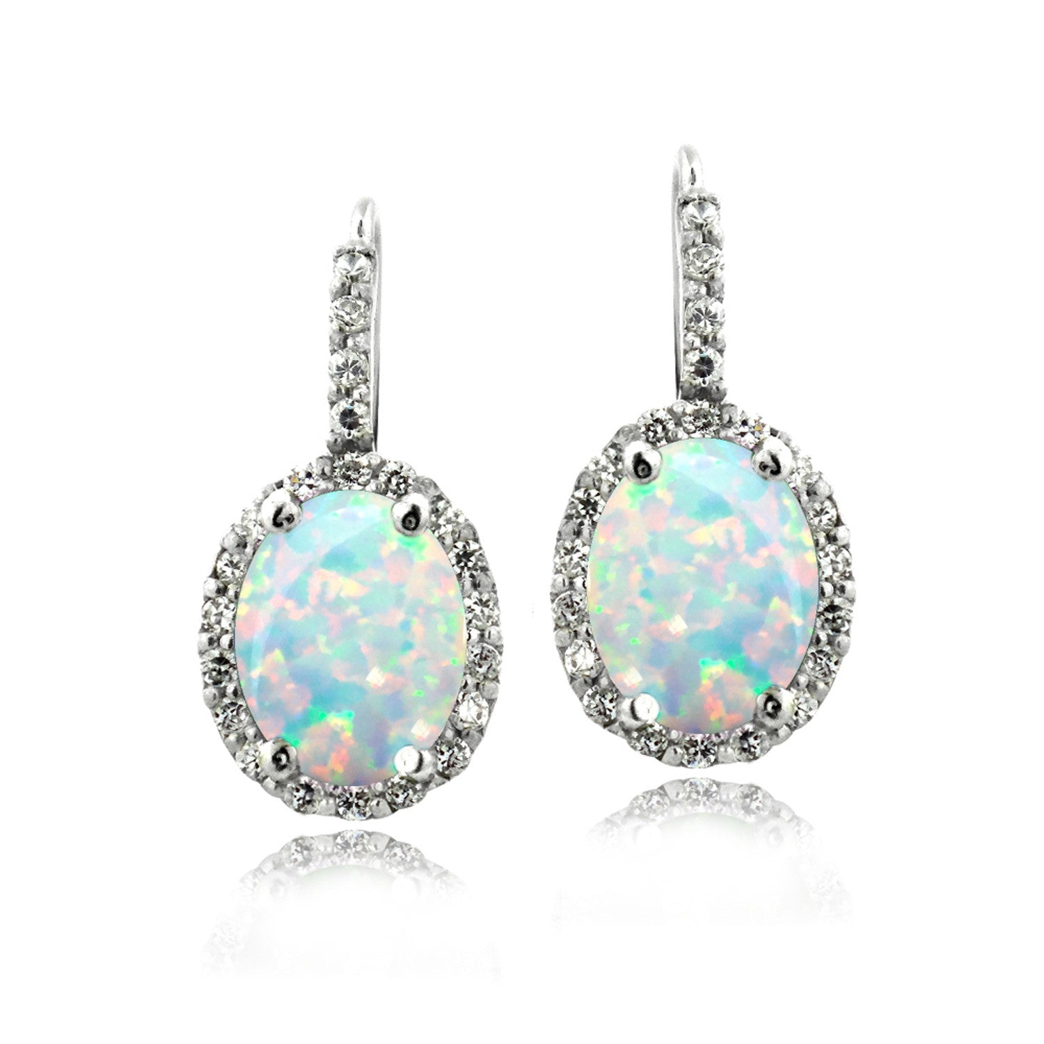 Oval Cut Gemstone Accent Sterling Silver Leverback Birthstone Earrings - October Created Opal