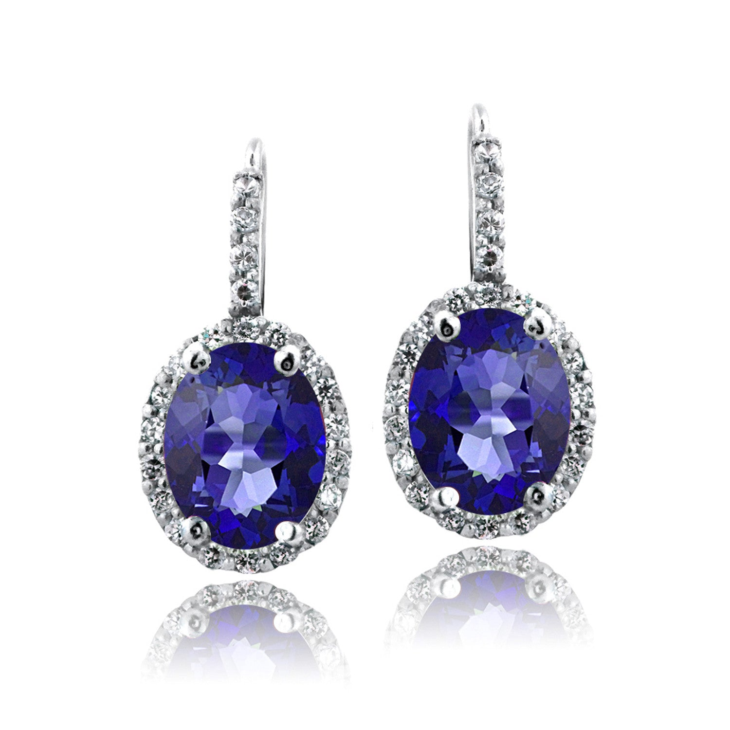 Oval Cut Gemstone Accent Sterling Silver Leverback Birthstone Earrings - September Created Sapphire