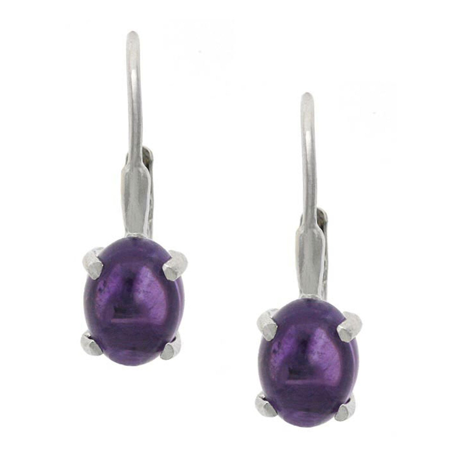 Sterling Silver Oval Gemstone Accent Leverback Earrings - Amethyst