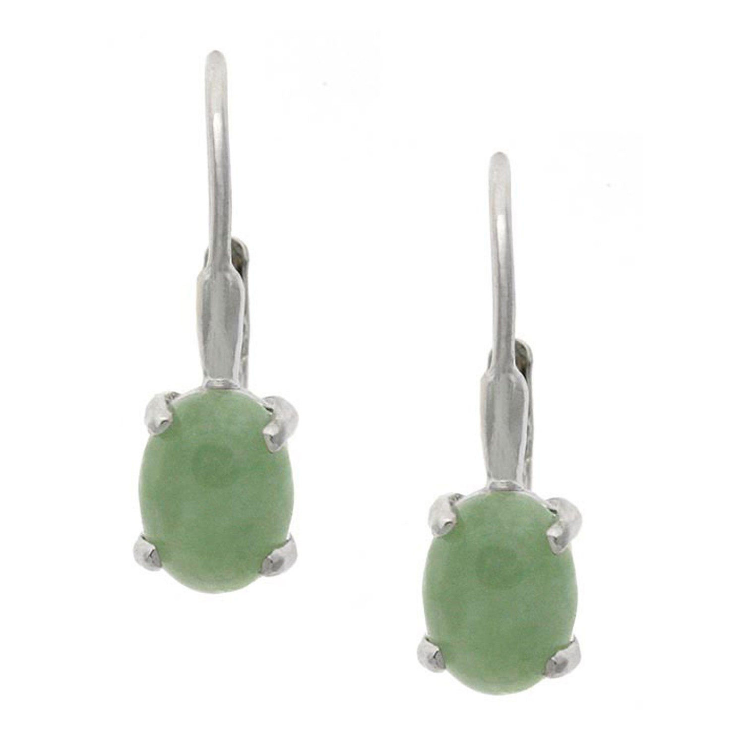 Sterling Silver Oval Gemstone Accent Leverback Earrings - Jade