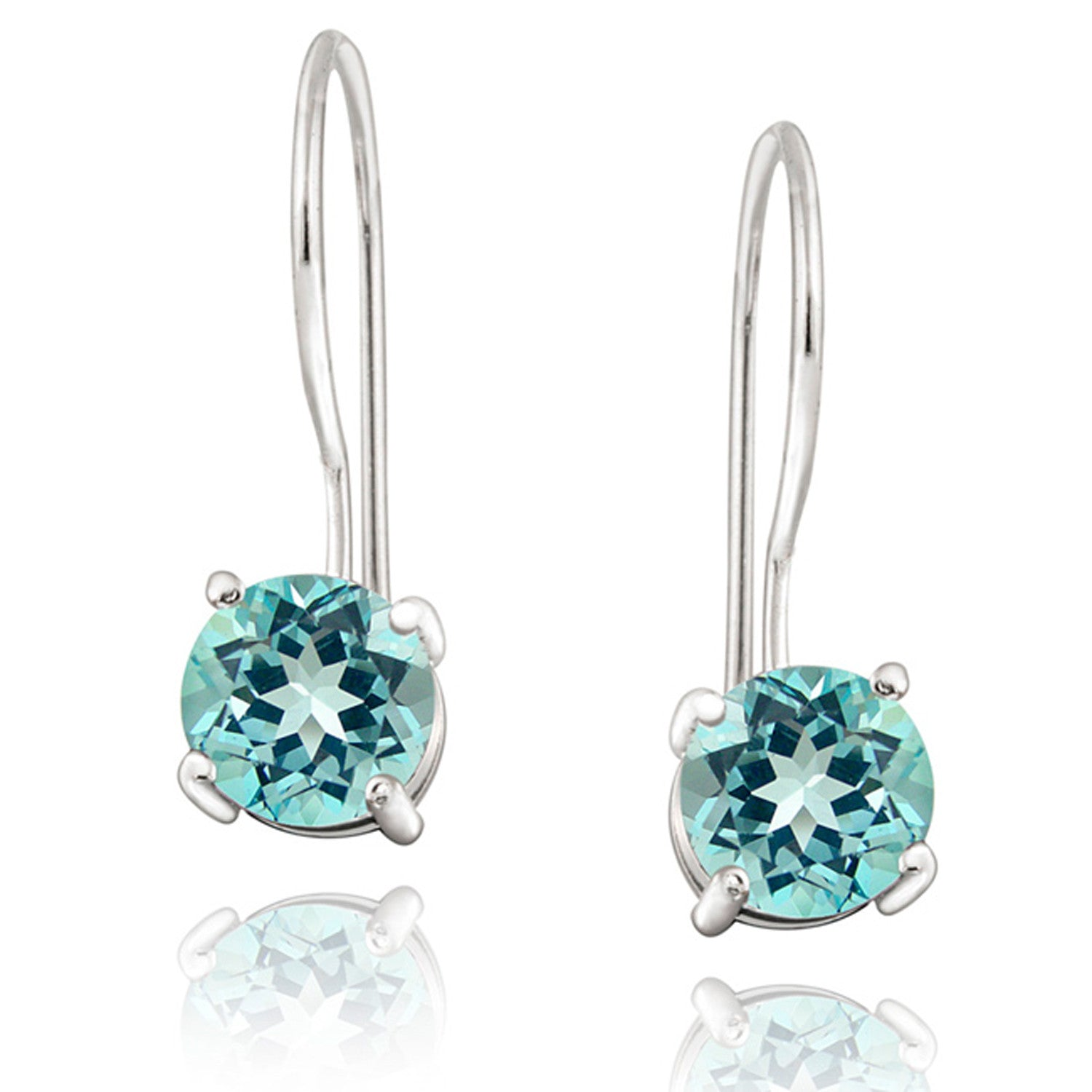 Sterling Silver Round Cut Gemstone Stone Euro Wire Dangle Earrings - Blue Topaz