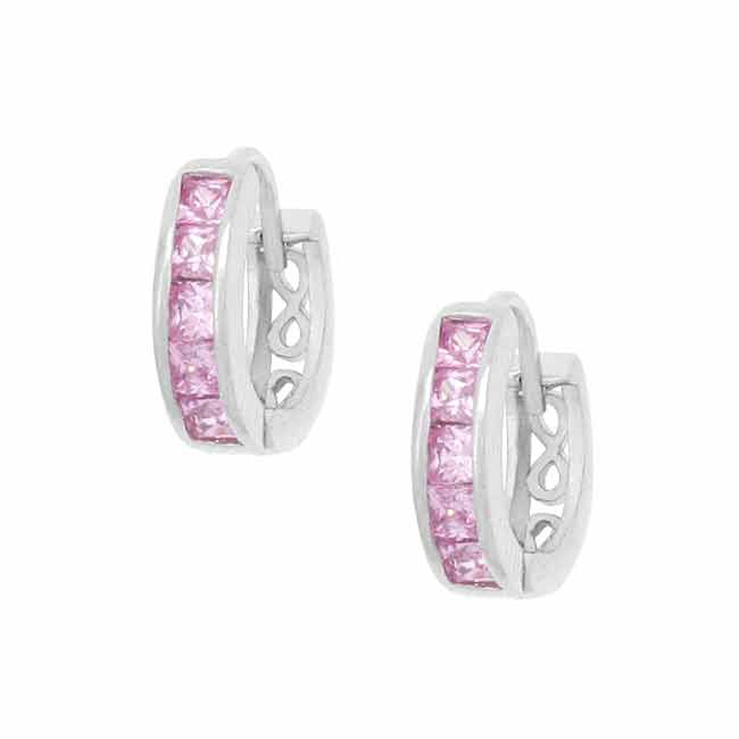 Sterling Silver Round Cut Pink Cubic Zirconia Mini Hoop Earrings