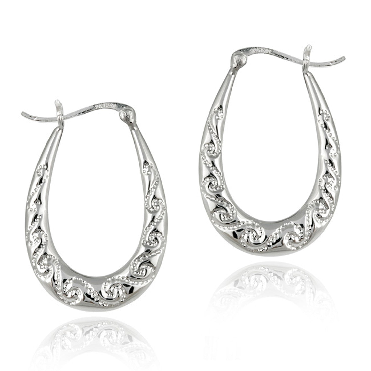 Sterling Silver Scroll Style Saddleback Hoop Earrings
