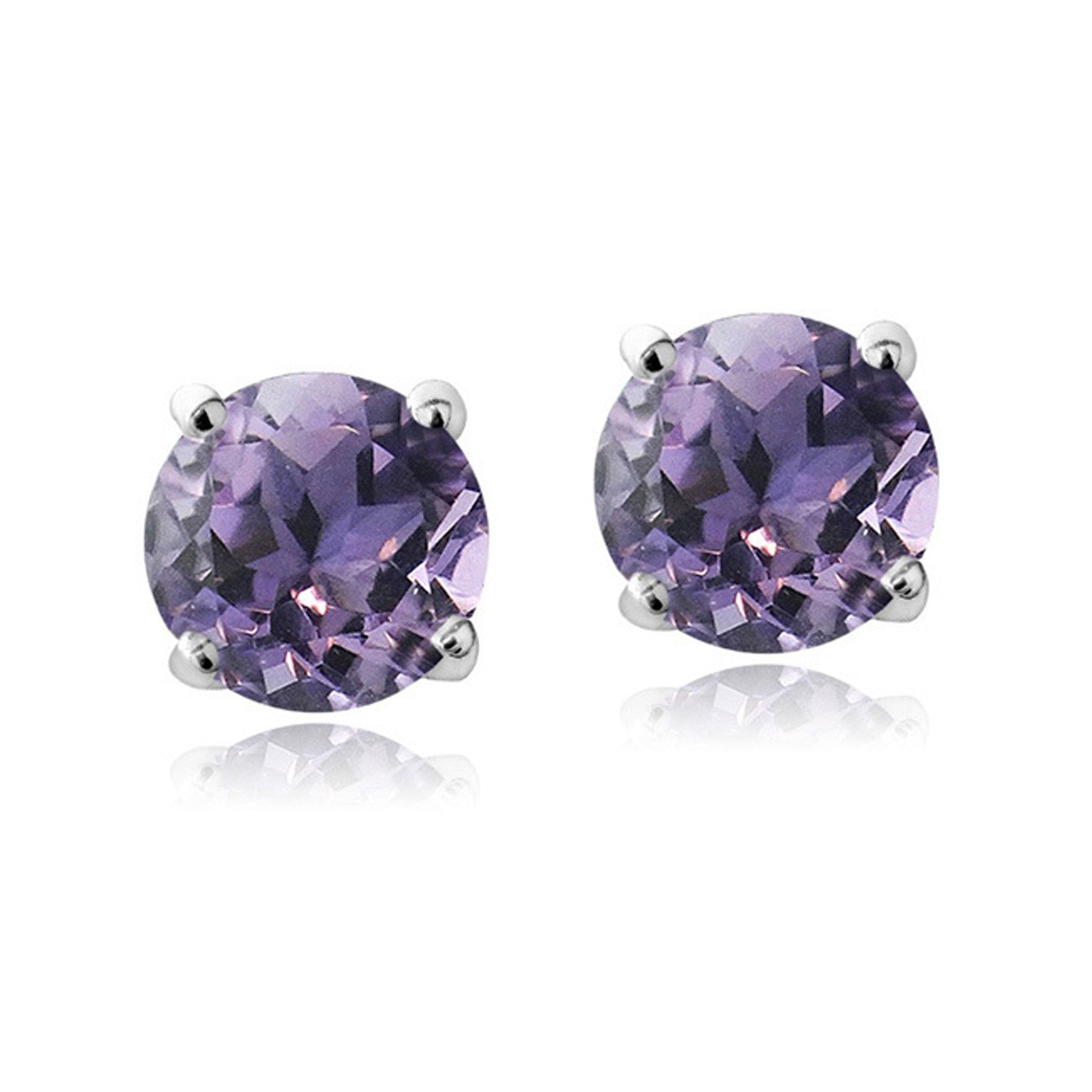 Swarovski Elements Sterling Silver Butterfly Clasp Birthstone Stud Earrings - February Amethyst