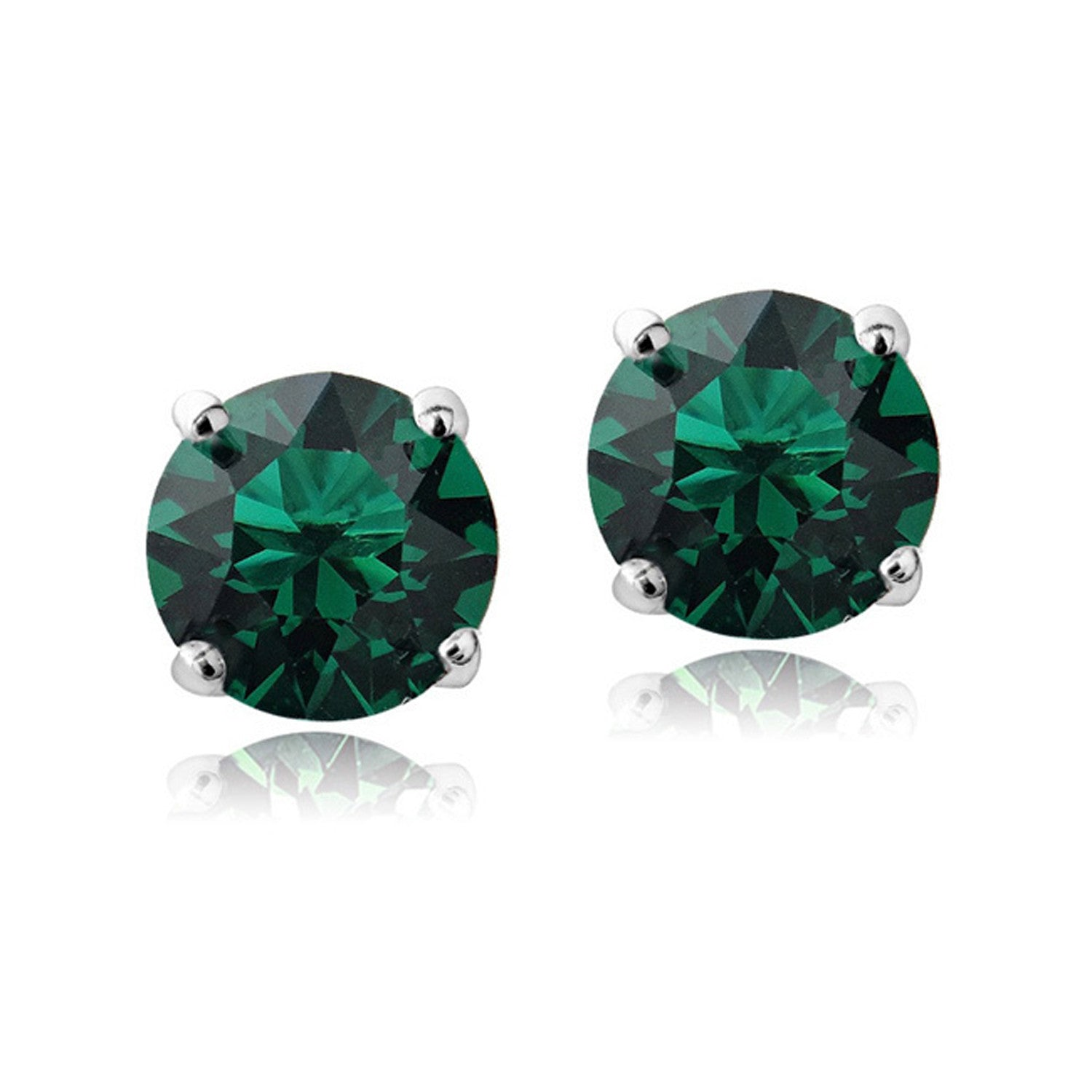 Swarovski Elements Sterling Silver Butterfly Clasp Birthstone Stud Earrings - May Emerald