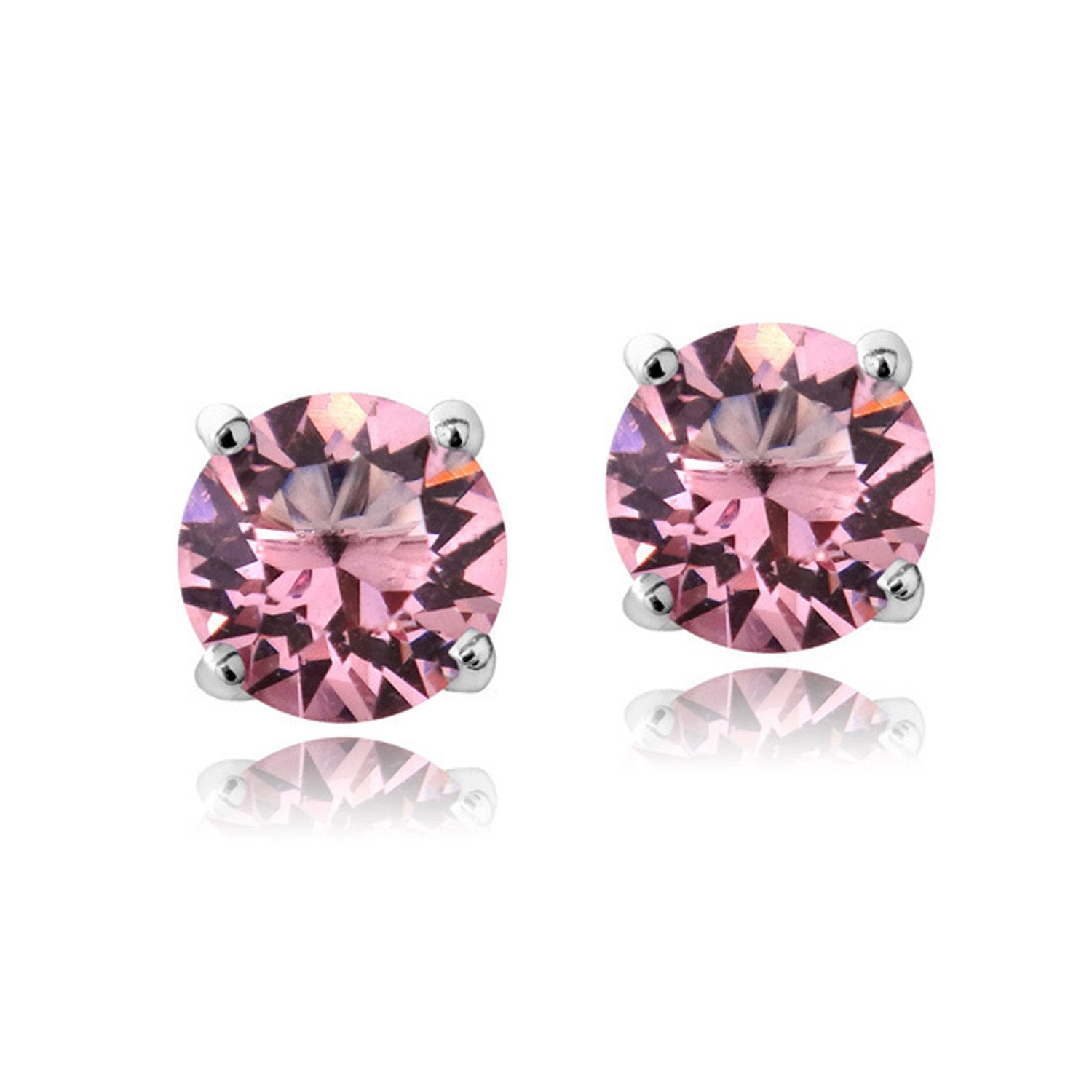 Swarovski Elements Sterling Silver Butterfly Clasp Birthstone Stud Earrings - October Light Rose