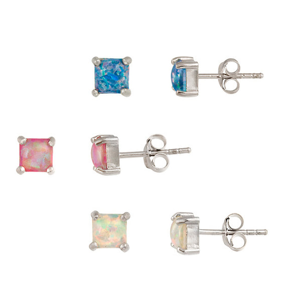 Set of 3 Sterling Silver Multicoloured Created Opal Butterfly Clasp Stud Earrings