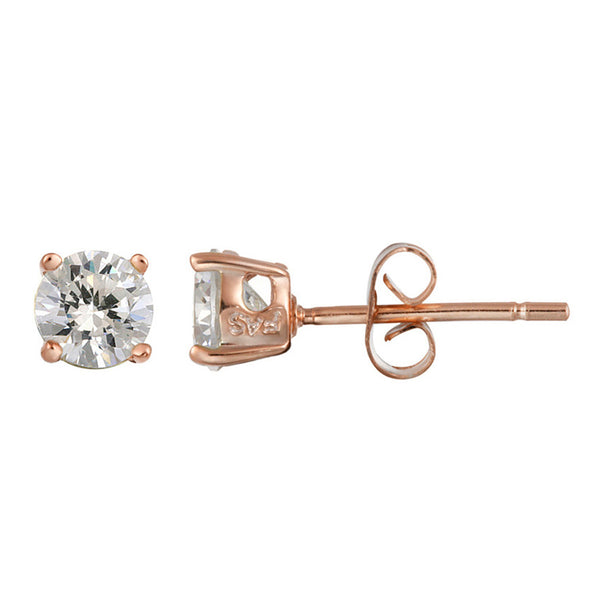 Set of 5 Sterling Silver Cubic Zirconia Butterfly Clasp Stud Earrings - Rose Gold