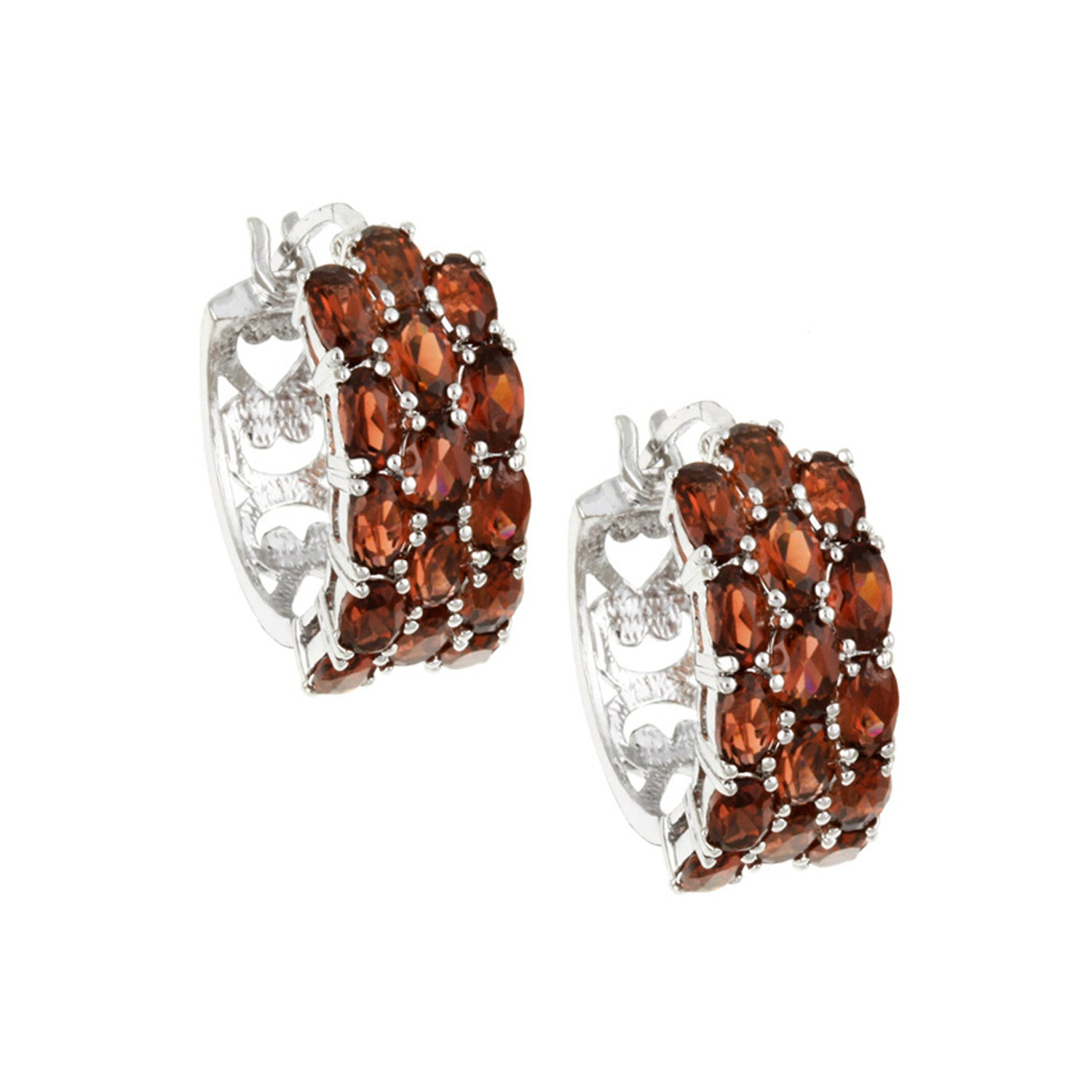 Sterling Silver Three Tier Gemstone Accent Saddleback Hoop Earrings - Garnet