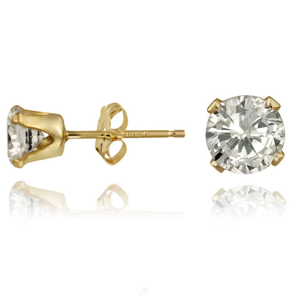 14k Yellow Gold Cubic Zirconia Butterfly Clasp Stud Earrings