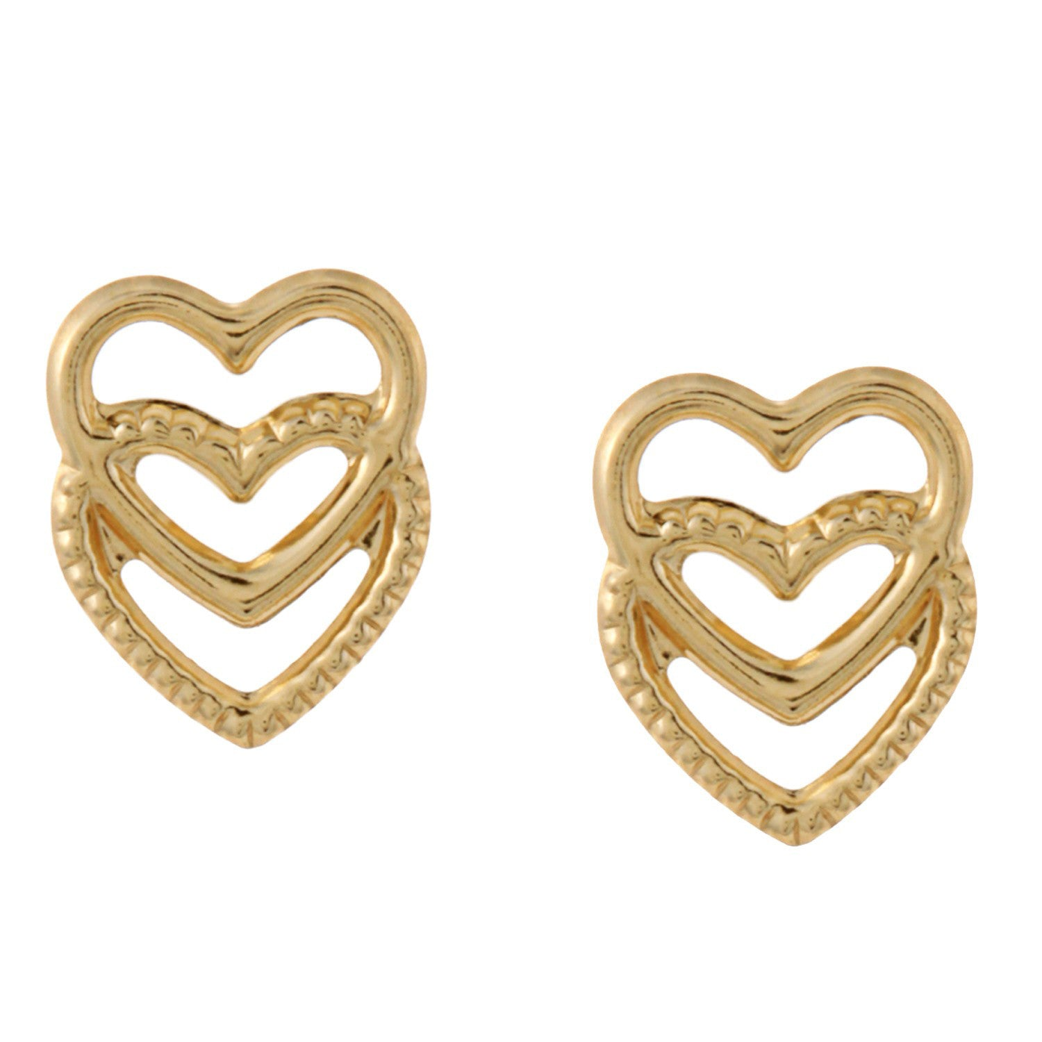 14k Yellow Gold Double Heart Stud Earrings