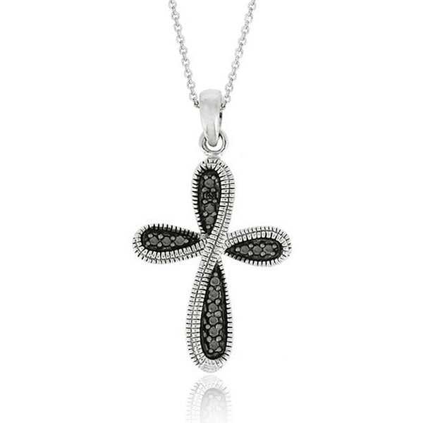 Black Diamond Accented Silver Cross Pendant