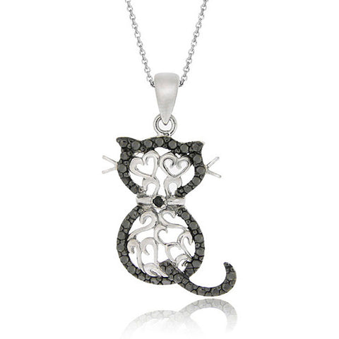Black Diamond Accented Silver Filigree Cat Pendant