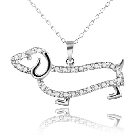 Diamond Accented Sterling Silver Dachshund Dog Pendant - Sterling Silver