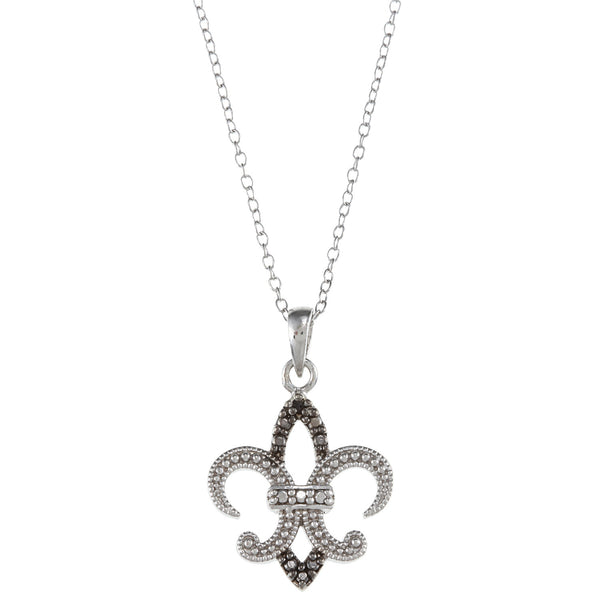 Black Diamond Accented Sterling Silver Fleur de Lis Pendant