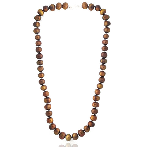 Coloured Freshwater Pearl Necklace - Dark Brown