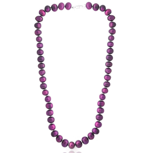 Coloured Freshwater Pearl Necklace - Cranberry